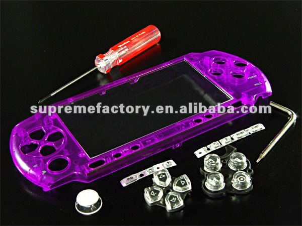 for PSP 3000 Bling Faceplate CRYSTAL PURPLE + Seawalker Bag