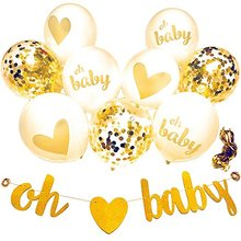 10 Pcs Baby Shower decoration OH BABY banner & 9PC Balloons Gold, Confetti, White