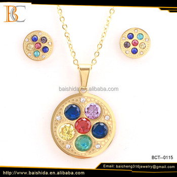 fake jewelry in stone colorful round shape imitation jewelry sets for gift party wedding