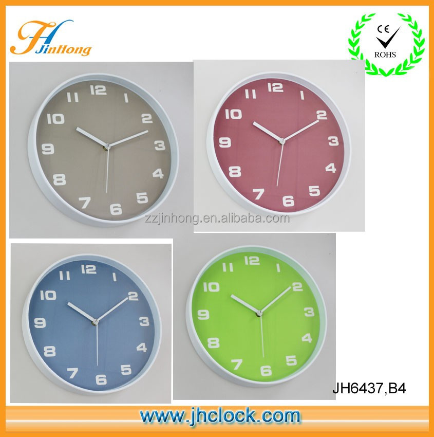 "Fashion Plastic 12"" Colorful Dial Wall Clock good for Home Decoration And Promotion"