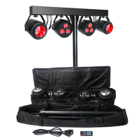 DJ Equipment Lighting Bar System 6x4W RGB UV 4in1 Par Light and Moonflower Effect Light Kit with Tripod Stand and Carry Bag