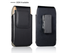 Universal Black leather mobile pouch case for Samsung galaxy S9 , mobile wallet case with factory price