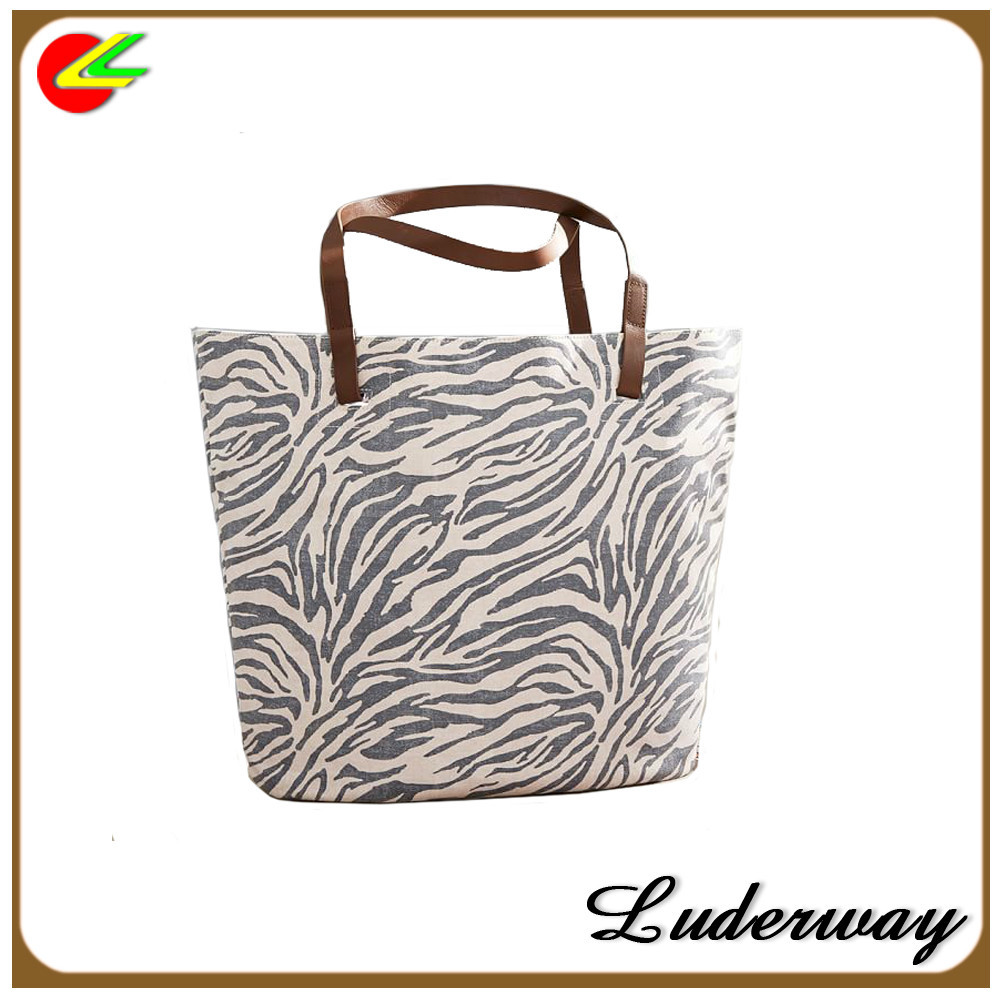 printed zebra bucket cotton canvas tote bag leather handle
