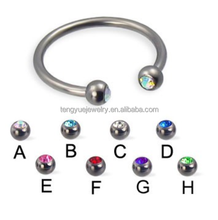 16G Jeweled Ball Titanium Circular Barbell Nose Ring Septum Cliker Jewelry