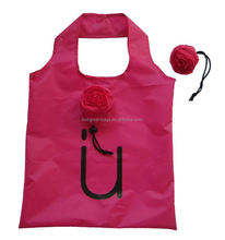 Rose flower design 190t polyester folding shopping bag