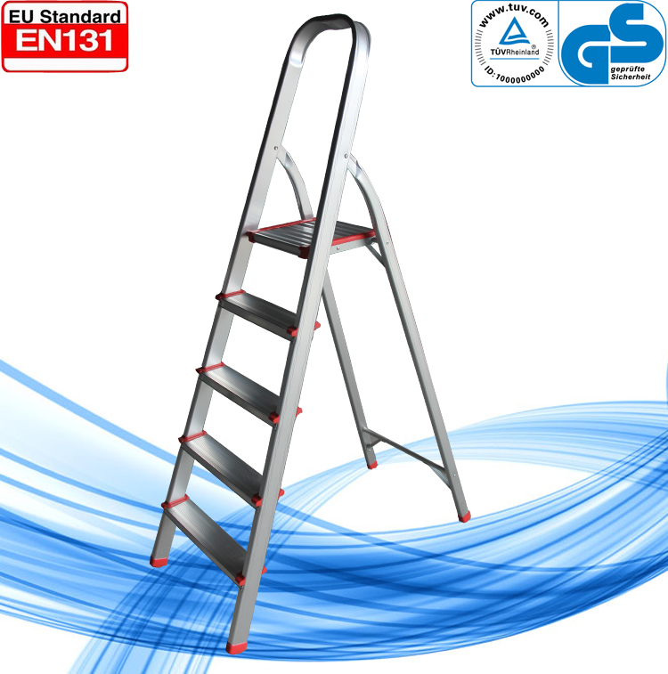 household Aluminum 5 foot round tube ladder with rubber feet