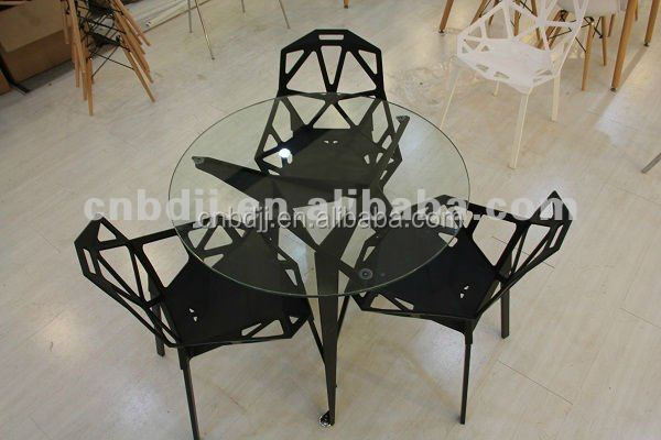 home office cafe restaurant conference hotel furniture Italian modern tempered glass round table