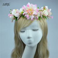 High Quality New Handmade Silk Floral Hair Wreath