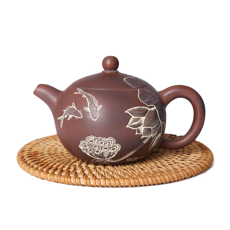 High Quality Chinese Zisha Teapots for Sale Custom Made Lotus Fish Yixing Teapot