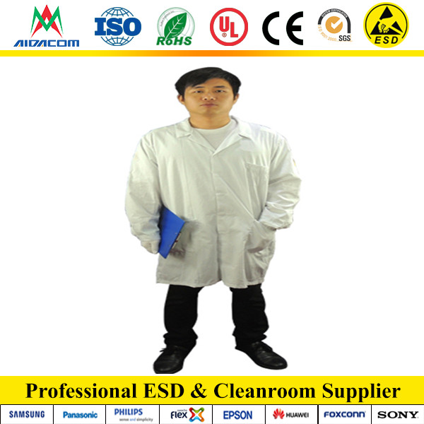 White,Blue ESD smock, Logo printed Poly/cotton clean room smock