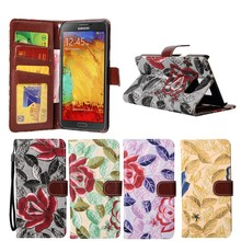 Retro Flower Pattern Wallet Style PU Leather Case For Samsung Galaxy Note 5 Edge, Folio Stand Magnetic TPU Cover