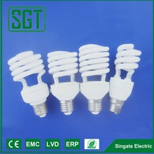 China cfl e27 b22 glass harf spiral energy saving saver light bulb 20w 25w 30w for home use