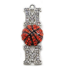I love you mom mother backetball sports mother's day pendant clear rhinestones fashion jewelry