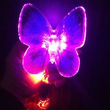 Christmas items party supplies fibre butterfly glow stick plastic cotton candy led stick
