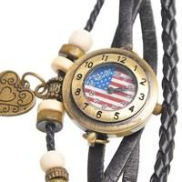 Retro Style Real Leather Weave Wrap Bracelets Wrist Watch Round Black American Flag Heart Pendant 20cm,1 pc,Jewelry
