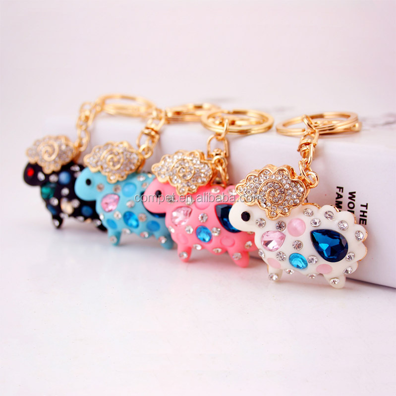 Produce creative car hanging ornaments sheep shaped keychain