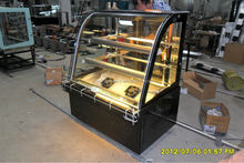 Curved glass ice cream display freezer with CE approval