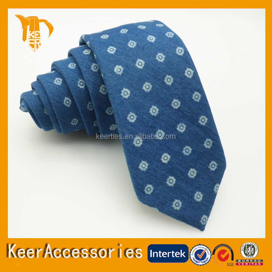 New Product 100% Cotton Custom Made Mens Skinny Tie