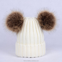 Arcylic knitted women winter hat with removable double fur pompom