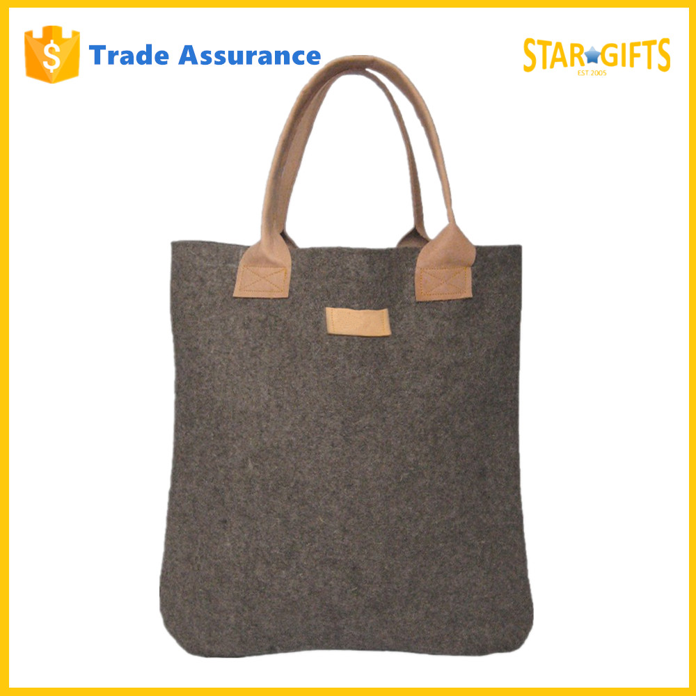 China Supplier Wholesale New 2016 Stylish Mens Felt Shoulder Bag With Leather Handles