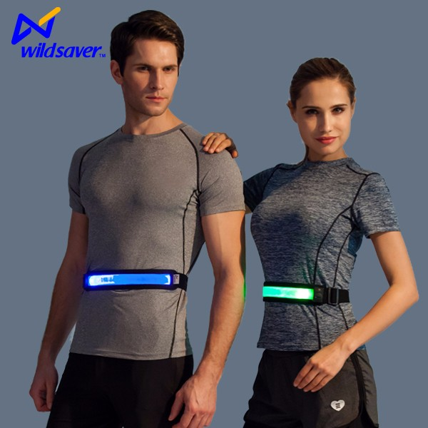 Battery powered optical fiber sports fitness running waist trainer belt