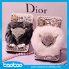 New Handmade Flip Stand Bling Rhinestone Leather Diamond Case for iPhone 6 6s Smartphone Soft Rex Rabbit Fur/Hair Case