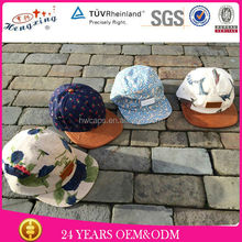 Hot Sale Floral Print Brim Design Wholesale Custom Kids 5 Panel Hat