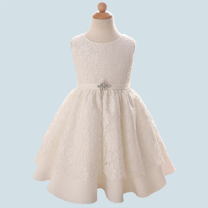 Baby Dresses High Quality Girls White Birthday Dress Princess Waistband Dress