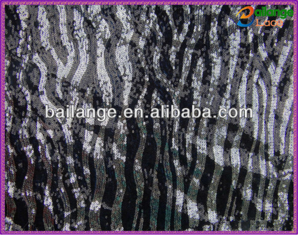 2016 black and white sequin fabric for designing clothing