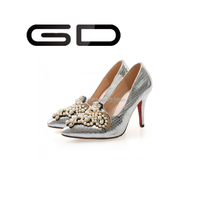 GD Luxury fashion black leather women pencil high heel shoes for women jewel pointed toe high heels
