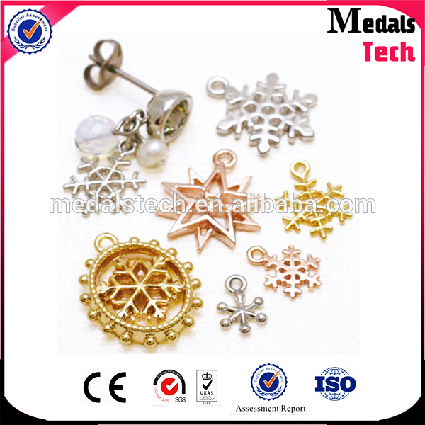 Classic design simple item zinc alloy snowflake pendant charms