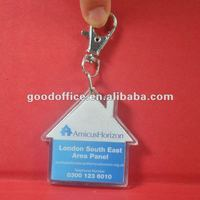 Good promotion gift clear acrylic keyring with house shaped