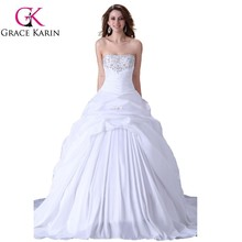 High Quality Sweetheart Sleeveless Beaded White Wedding Dress CL2523