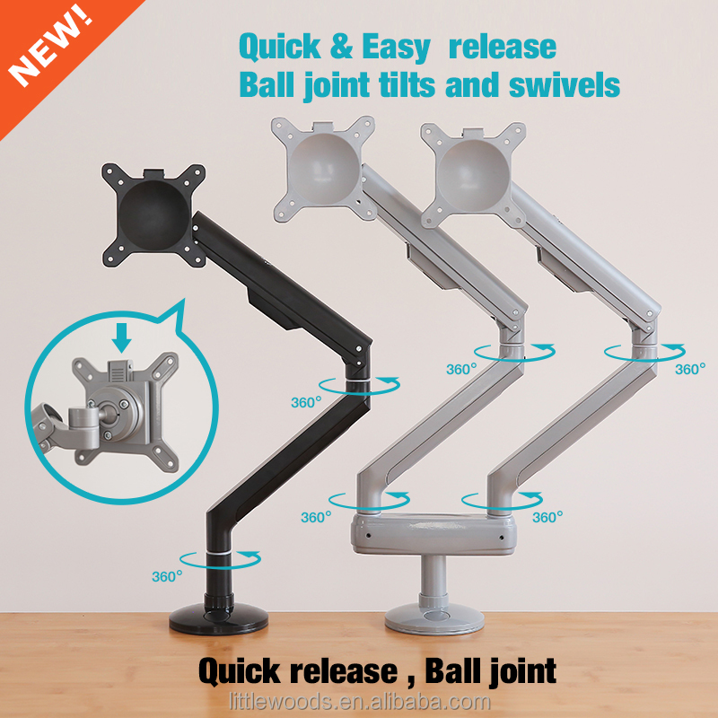 Full Motion Gas Spring dual monitor stand desk mount
