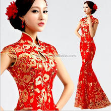 Z55783B Alibaba wholesale Price red Long bridal evening wedding dress