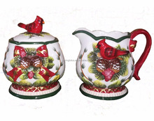 Hot Sale Christmas Decoration Ceramic Sugar Bowl and Creamer Container set