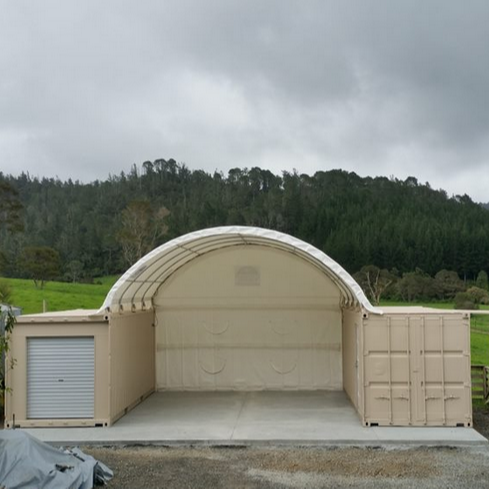 <strong>2</strong> <strong>x</strong> 40ft shipping containers <strong>1</strong> <strong>x</strong> 6m wide <strong>x</strong> 12m long dome shelter with end wall.