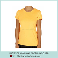 Blank Yellow 95% Cotton 5% Spandex Slim Fitted Gym T Shirts Ladies