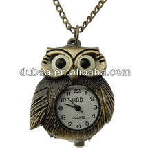 Lovely Bronze Animal Owl Pocket Watch Necklaces,Vintage Europe Pattern Pocket Watch Necklace Promotion Gift Jewelry