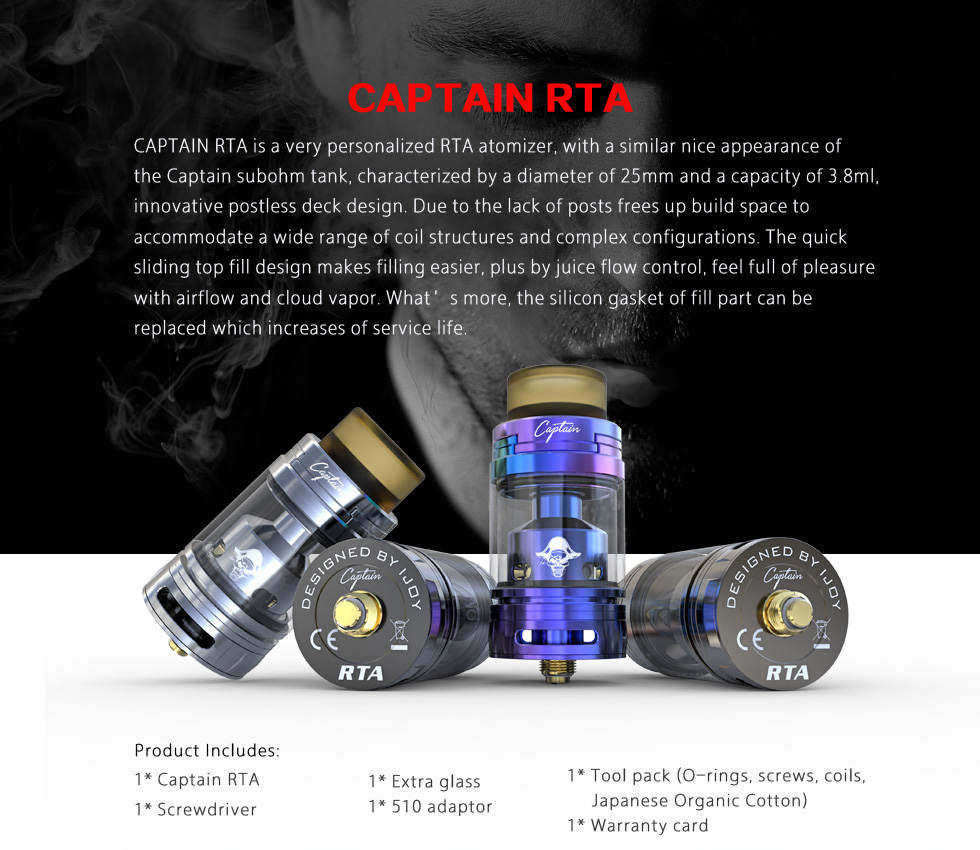Newest Electronic Cigarette IJOY Captain RTA Tank 3.8ml with Cloud chaser and the best flavor