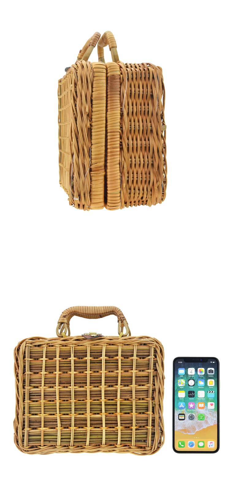 Home Organizer Handmade Woven Bali Bags Square Rattan Picnic Basket with Cover and Lock