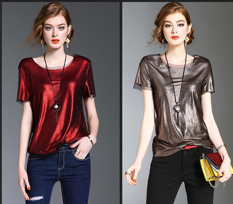 2017 Summer latest design glossy shine round neck loose short sleeve casual top blouse for women casual China garment factory