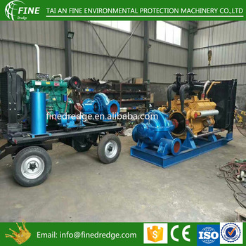 horizontal fire water pump single stage split case pump 4 wheel trailer double suction pump