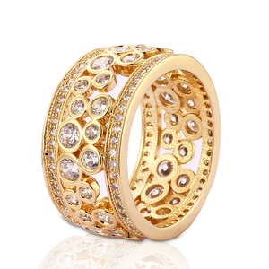 China Fake Gold Plated Engagement Jewelry Wholesale CZ African Wedding Ring For Women