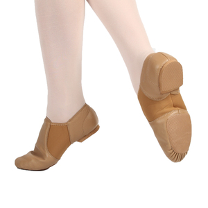 JS7223 Wholesale OEM Adults Portable Split Tan Color Dance Leather Jazz Shoe For Women