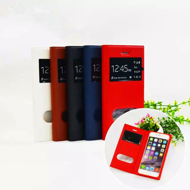 Imitation Leather+PU Material Mobile Phone Cases For IPhone 6 And Plus With Dual Window