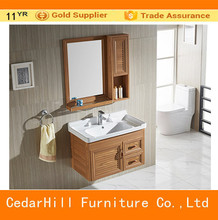 Hotel aluminum bathroom cabinet with solid wood color