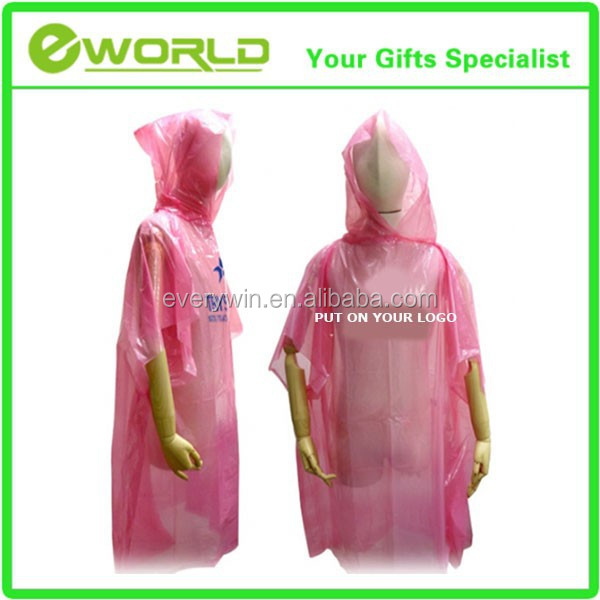 Eco-friendly Material Advertisement Gifts PE Disposable Rain Poncho