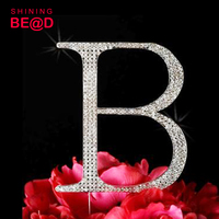 hot selling letter B C D wedding rhinestone cake topper crystal shape birthday party cake toppers