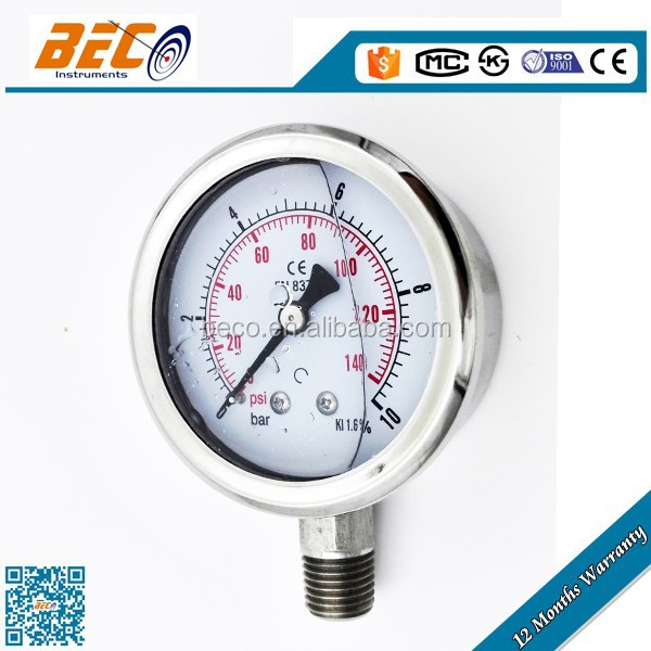 YBF-60A shockproof natural gas / biogas pressure gauge with all stainless steel material